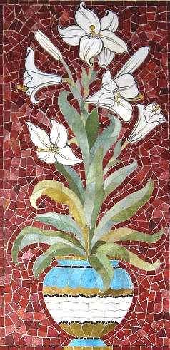 Mosaic lilies - part of the altar reredos.