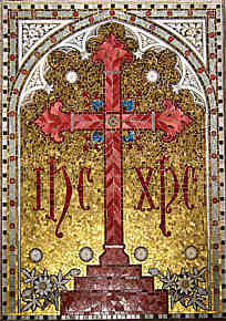 Mosaic cross behind the altar.