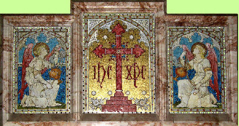 Mosaic reredos - two angels guard the cross.